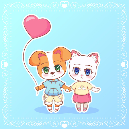Sweet Little cute anime cartoon Puppy cat kitten dog boy and girl with pink balloon in the shape of a heart. Card for Valentine Day. Love and friendship Children character eps10