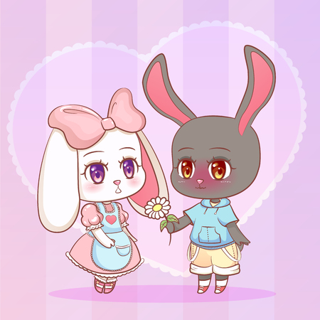 Sweet Little cute anime cartoon Puppy bunny rabbit boy and girl with flower chamomile shape of a heart. Card for Valentine Day. Love and friendship Children character eps10