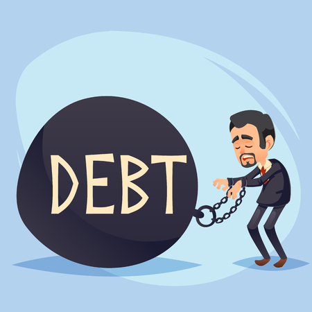 Funny Cartoon Character. Sad businessman with a Big Debt Weight. Vectores