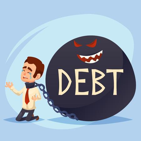 Funny Cartoon Character. Sad businessman with a big Debt Weight.