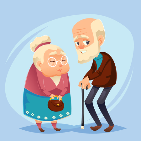 Senior lady and gentleman with silver hair flat style vector cartoon illustration