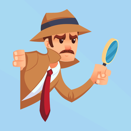 Noir detective with magnifying glass peeking out the corner cartoon flat design vector illustration.