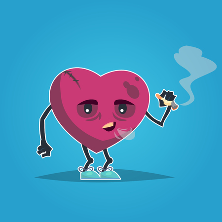 Sad unhealthy sick heart smoking cigarette. Vector modern style cartoon character illustration icon design. Unhealthy heart concept.