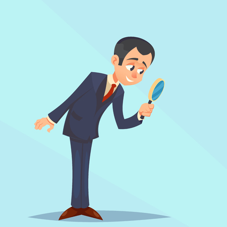 Happy Businessman looking through magnifying glass, focusing. Great for presentation vector illustration cartoon eps10