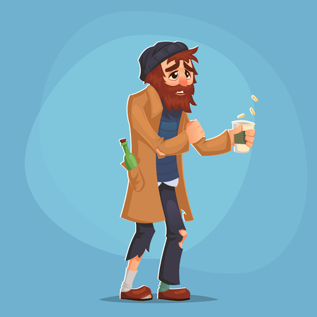 A homeless Bum Poor man adult beg money and need help isolated Cartoon Design Vector Illustration Vettoriali