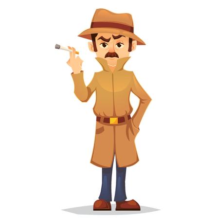 detective character design, cartoon flat style, vector color illustration, noir detective smoking cigarette eps10 Illustration