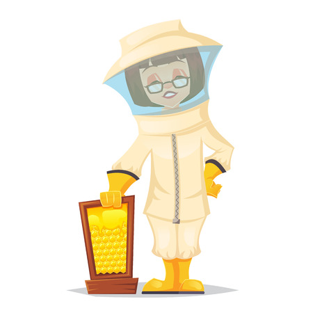 Beekeeper. Bee uly. Apiary. Bee garden. Vector flat cartoon illustration eps10