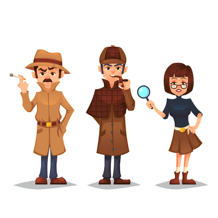 Set of detective character man smoking pipe noir detective smoke cigarette design, spy woman with magnifying glass cartoon flat style, vector color illustration Illustration