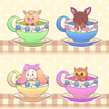 Cute little funny kawaii animal owl, bat, pig, rabbit pet illustration in a tea coffee cup cartoon vector print illustration.