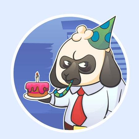 Cartoon funny sticker illustration of businessman boss sheep with a grumpy expression with cake and party hat. Hard work stress and Monday.