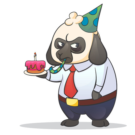 Cartoon illustration of businessman boss sheep with a grumpy expression with cake and party hat. Hard work stress and Monday. Illustration