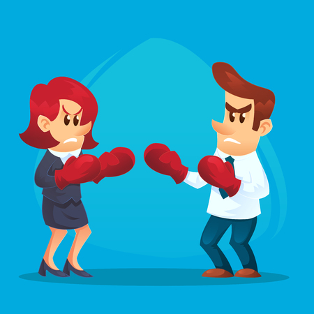 Businesswoman in boxing gloves fighting against businessman. Business competition concept. Vector flat cartoon illustration.