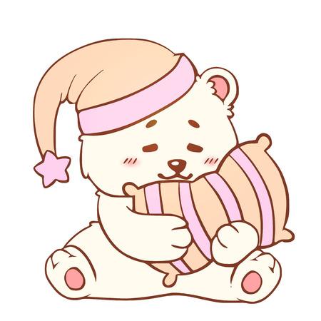 Sleeping bear with pillow Sweet Dreams cute kawaii little Teddy Bear. Good night baby Print t-shirt. Ilustração