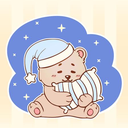 Sleeping bear with pillow Sweet Dreams cute kawaii little Teddy Bear. Good night baby.