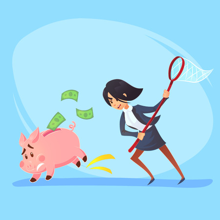 Poor bankrupt businesswoman office worker character running chase piggy bank with net. Financial crisis problems flat cartoon illustration graphic design concept. Illustration