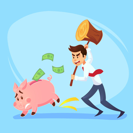 Poor bankrupt businessman office worker character running chase piggy bank with hammer. Financial crisis problems flat cartoon illustration graphic design concept.