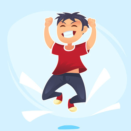 Cartoon character, Happy school Boy jumping Concept of happiness, victory fun. Vector cartoon illustration for banner, poster, website, invitation