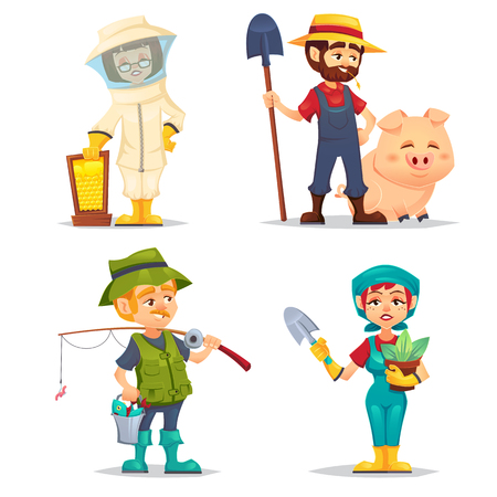Happy fisherman, Beekeeper, farmer in straw hat with happy domestic hog pig, gardener woman with shovel and plant pot. Smiling cartoon worker character on white background Vector flat cartoon illustration.