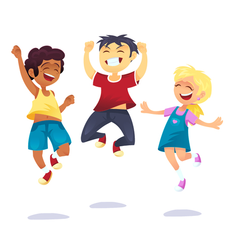 Happy school multiracial children joyfully jumping and laughing isolated on white background. Concept of happiness, victory fun. Vector cartoon illustration for banner, poster, website, invitation