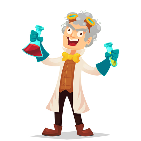 Mad professor in lab coat and rubber gloves holding flasks, cartoon vector illustration isolated on white background. Crazy laughing funny cartoon white-haired scientist, stereotype of scientist