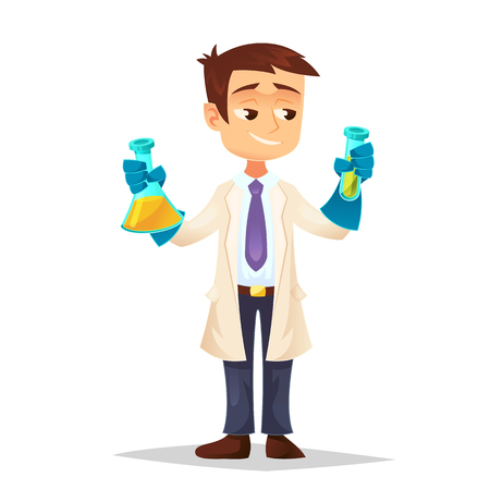 Illustration of a Scientist Holding two Test tubes Stock fotó - 112274018
