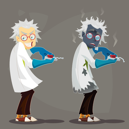 Mad Scientist professor in lab coat and blue rubber gloves. Failed Experiment Burned. Funny cartoon vector illustration. Vector Illustration