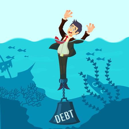Biznesmen utonięcia przykuty z ciężarem Dług