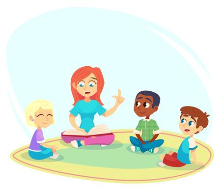 Nauczycielka czytać książki, dzieci siedzą na podłodze w kręgu i słuchają jej. Zajęcia przedszkolne i edukacja wczesnoszkolna. Ilustracja kreskówka wektor plakat, strona internetowa. Ilustracje wektorowe