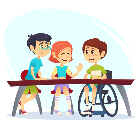 Boy in wheelchair sitting at table in canteen and talking to friends. Happy kids students having conversation. School inclusion concept. Cartoon vector illustration for website, advertisement, poster, flyer.