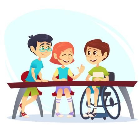 Niño en silla de ruedas sentado a la mesa en la cantina y hablando con amigos. Estudiantes de niños felices que tienen conversación. Concepto de inclusión escolar. Ilustración de vector de dibujos animados para sitio web, publicidad, cartel, folleto.