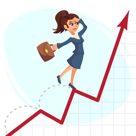 femme d'affaires sauter par-dessus graphique de plus en plus Concept de réussite commerciale. Illustrations de dessins animés créatifs de vecteur.