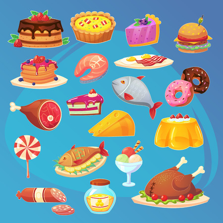 Set of colorful cartoon food game web inventory icons. Isolated vector Ilustração