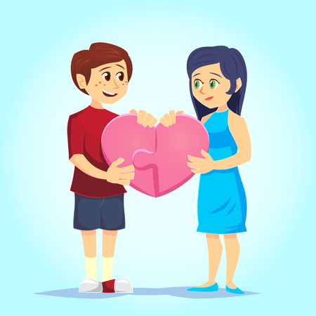 Smiling young man and woman lovingly put together heart-shaped puzzle. Couple in love. Characters for the feast of Saint Valentine. Vector illustration in cartoon style. Stock Illustratie