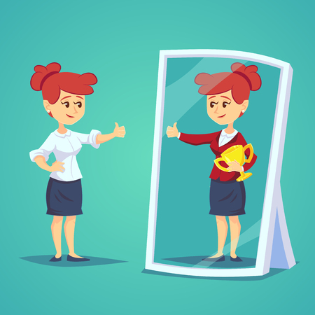 Businesswomen standing in front of a mirror looking at her reflection and imagine herself successful. Business cartoon vector concept 向量圖像