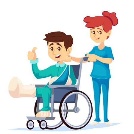 smiling man in a wheelchair with broken leg arm with a nurse hospital help. Vector cartoon illustration.