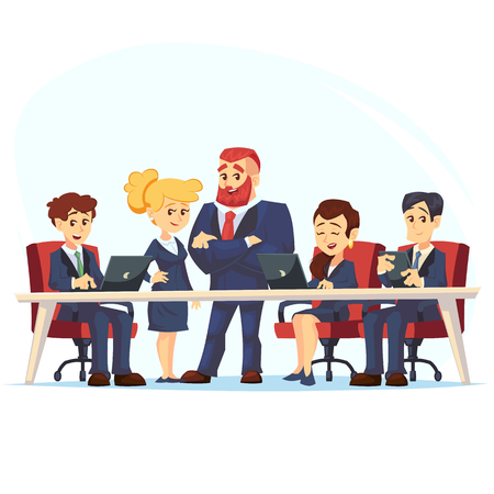 Meeting business people. Teamwork. Discussion of the company business strategy. Vector illustration in a flat cartoon style Manager, designer, programmer and colleagues using laptops.