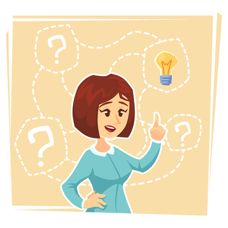business woman thinking about creative idea. Business woman standing with question marks and idea light bulb above her head. Business idea concept. Vector flat cartoon design illustration