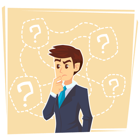 Thinking businessman standing under question marks. Young caucasian business man thinking. Thinking business man surrounded by question marks. Vector flat cartoon illustration.