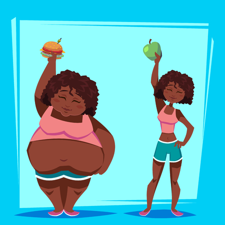 young african american woman with apple and fast food before and after weight loss program. Health concept. Funny cartoon character vector illustration. Ilustração