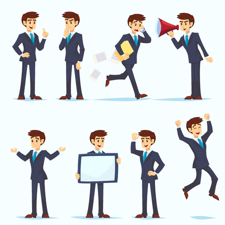 Ready-to-use cartoon character set. Young businessman in formal wear. Different poses and emotions.
