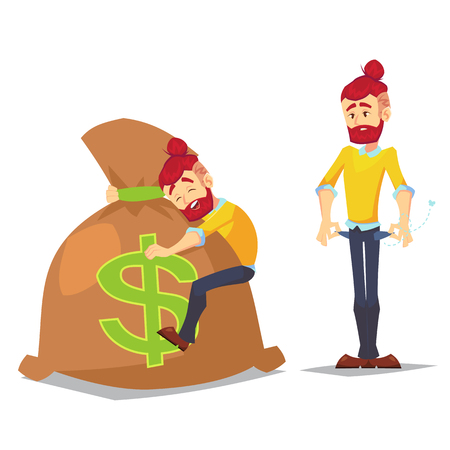 Adult Hipster characters in casual clothes. Cartoon set of young guy with pockets turned outward, having no money and big bag sack of money. Vector illustration in cartoon flat style, isolated on a white background