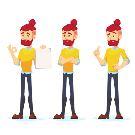 Business man characters. Adult Hipster in casual clothes. Emotions and expressions, pose. Vector cartoon character