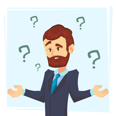 Thinking businessman standing under question marks. Young caucasian business man thinking. Thinking business man surrounded by question marks. Vector flat cartoon illustration