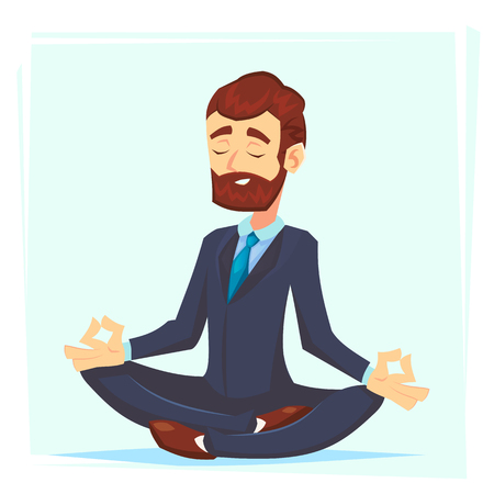 Illustration of a calm, young cartoon businessman sitting cross-legged, smiling and meditating Vector cartoon character office worker.
