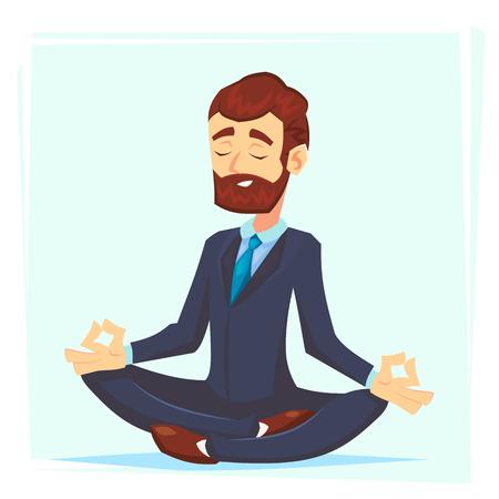 Ilustración de un joven empresario de dibujos animados tranquilo, sentado con las piernas cruzadas, sonriendo y meditando Oficinista de personaje de dibujos animados de vector. Ilustración de vector