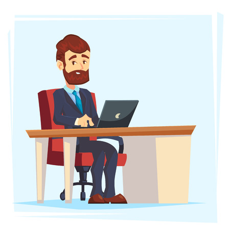 Businessman Working at Office Table. Flat cartoon Design Style. Vector illustration of Cartoon Big Boss with Workspace, Table and Computer.