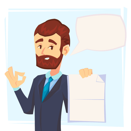 Handsome manager in formal suit holding a blank sheet and ok finger to it with speech bubble. Template for your text. Cartoon character - cute businessman. Vector illustration in flat design