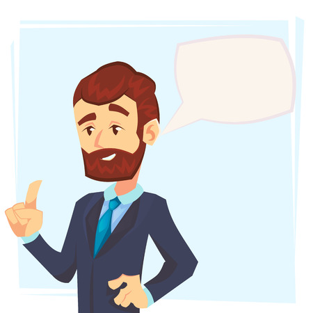 Hübscher junger Geschäftsmann, der seinen Zeigefinger hochhält und Ratschläge gibt. Attraktiver Manager, der mit Sprechblase spricht. Modernes Charakterdesign. Vektorillustration im flachen Cartoon-Stil.