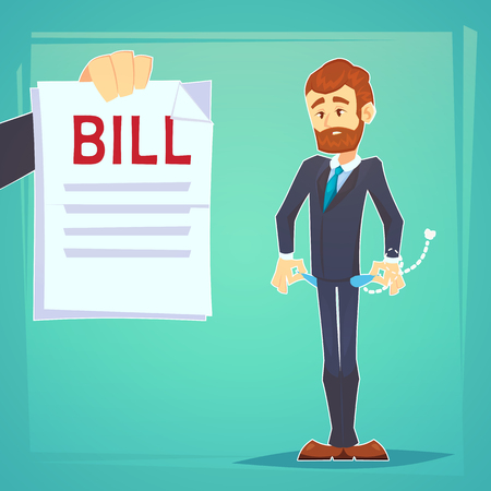 Upset businessman with no money, bankrupt.Poor man. Empty pockets . Frustrated, disappointed business man. Cartoon character with debt bill. Stock vector illustration in flat design. Business concept. Vectores