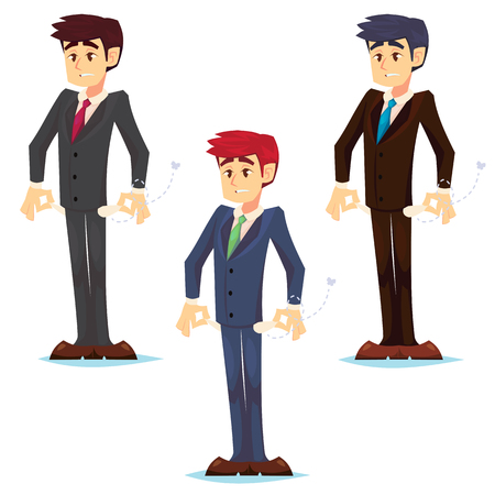 Upset businessman with no money, bankrupt. Poor man. Empty pockets . Frustrated, disappointed business man. Cartoon character with debt bill. Stock vector illustration flat.